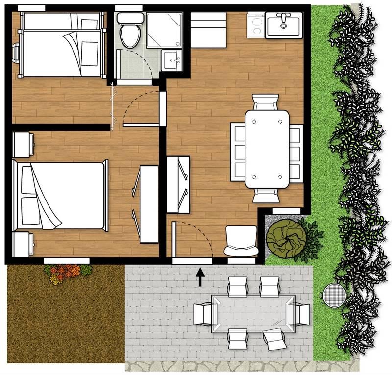 bungalow gardasee 4 6 personen. Black Bedroom Furniture Sets. Home Design Ideas